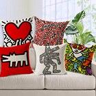Pop art Graffiti Heart Home Decor Pillow Linen Cotton Cushion home Decorative Throw Pillows Lumbar pillows