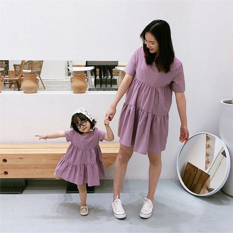 Unparteiisch Mutter Und Tochter Kleider Mama Und Mich Familie Passenden Kleidung Eltern-kind Frauen Kinder Baby Mädchen Nette Plain Kleid Elegante