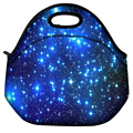 Color Blue Shining Stars School Travel Thermal Waterproof Carrying Lunch Tote Bag Cooler Box Neoprene Lunchbox