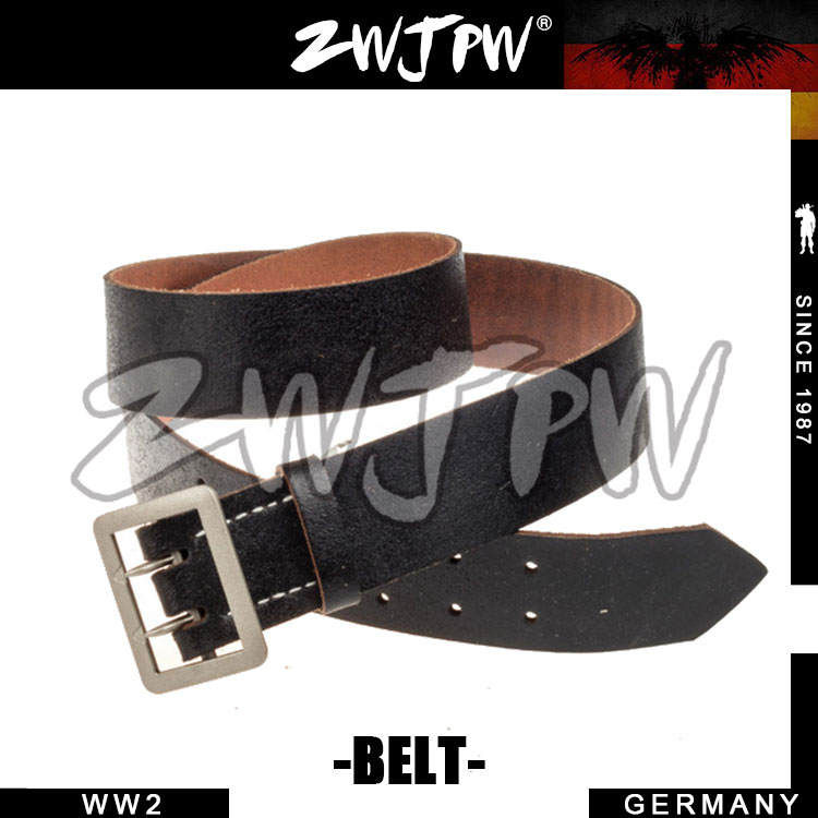 German Army WH Officer P08 Double Claw Belt with Buckle Black Brown جلد طبيعي للرجال حزام عسكري DE / 403101