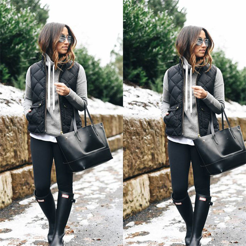 Femmes De Mode D'hiver Slim Gilets Polaire Chaud Parka Tranchée Manteau Veste Sans Manches Suture Gilet Chaud Zipper Gilet