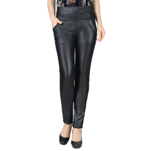 Women Slim Fit PU Leather Pants Black Thicken Fleece Trousers Winter Woman Warm Pant Lady High Waist Elastic Trouser 2019