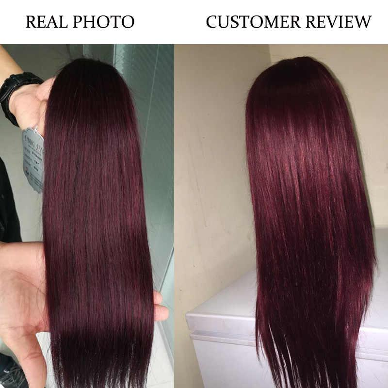 Сияющая Звезда бразильские прямые 3 бордовые пучки с закрытием темно-красные пучки с закрытием цветные натуральные волосы Weave Non Remy