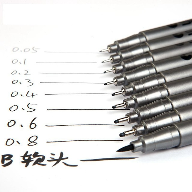 Waterproof Black Pigment Liner Pigma Micron Fineliner Sketching Comics Manga Art Marker Pen For Drawing School Office Stationery 2