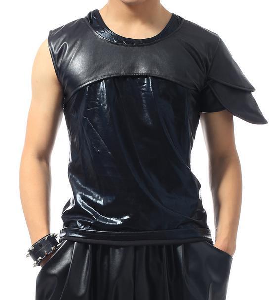 Черная сцена 1 рок мужские кожаные футболки Мода Футболка Мужская camisetas masculinas Мужская одежда 2XL настраиваемая - Цвет: 01