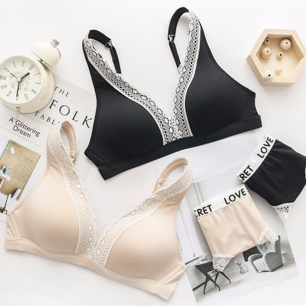 Femal Intimate Sexy Lingerie Set Thin Lace Bra For Sleep Deep V-neck Underwear Women Wireless Seamless Bra BC Cup Black Nude