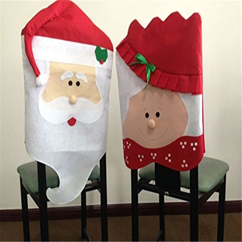 Christmas Chair Covers Lovely Couple Santa Claus Dining Room Cover Home Hotel Party Decor Decoration Supplies