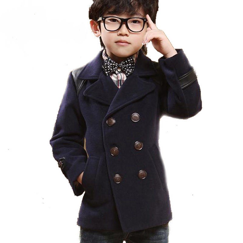 Unique High quality Double Breasted Kids Boys Wool Coat British Style PU  MV64