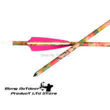Free shipping 30″ Spine400 Archery hunting&shooting Pink Camo Pure Carbon arrow for a female archer,12pcs/lot