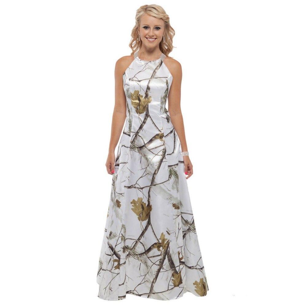 Generous Halter White Camo Prom Dresses 2019 Camouflage Wedding Party Gowns Vestido De Festa