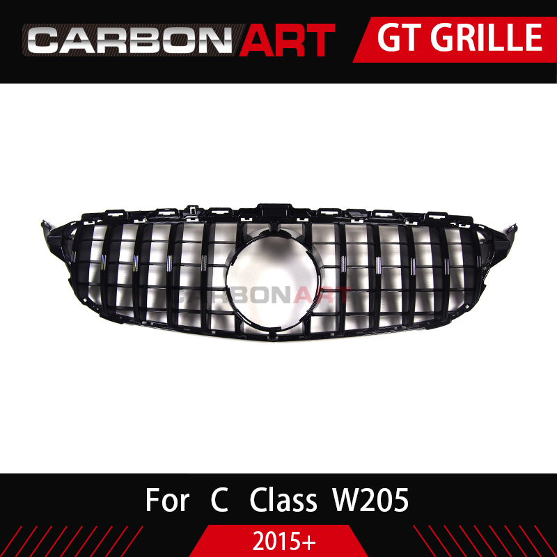 Image 5 - Carbonart C Class W205 GT Front Bumper Mesh Grill Grille Fit for mercedes W205 C200 C300 Sports No/with Camera hole-in Racing Grills from Automobiles & Motorcycles