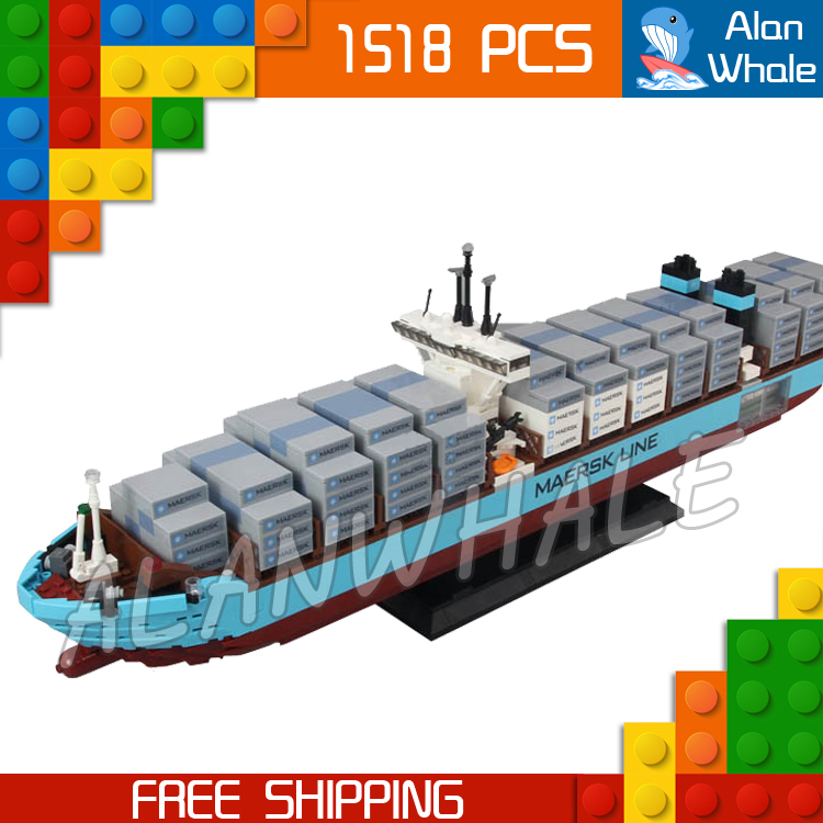 1518pcs Creator Expert Maersk Line Triple-E Freighter Cargo Ship 22002 Figure Building Blocks Toys  Compatible With Lago