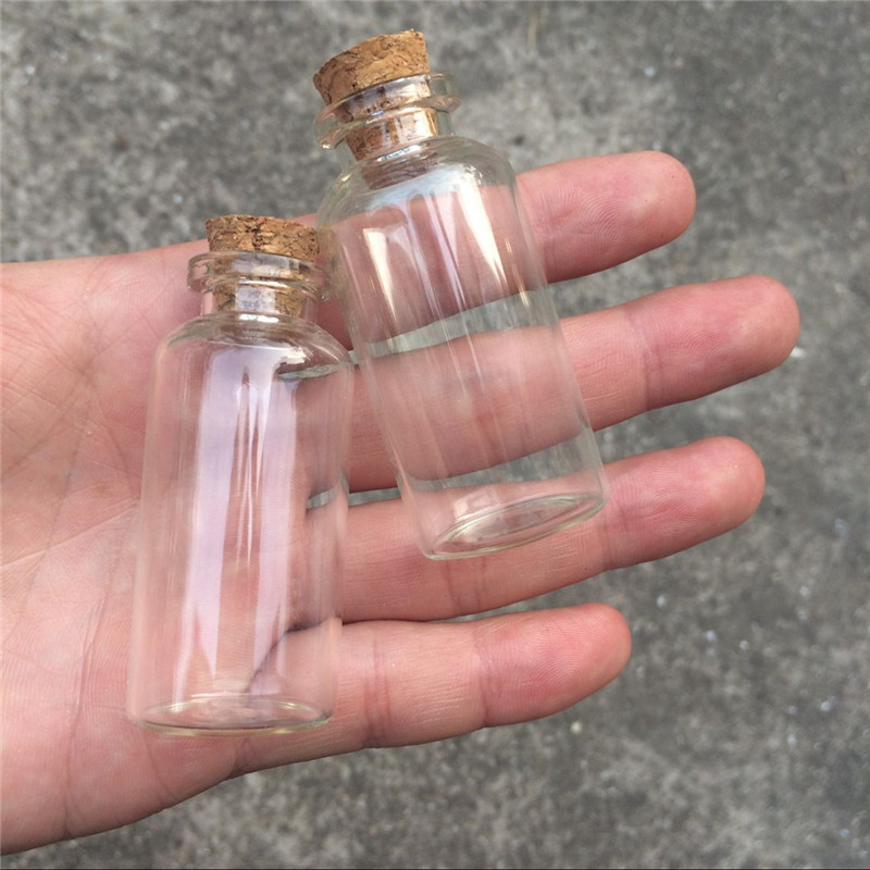 20ml Empty Glass Bottles with Cork Glass Vials Jars Pendant Containers for Sand Liquid