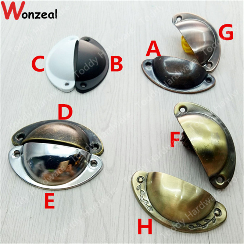 4pcs/lot Furniture Handle Length 81mm/50mm Antique drawer Shell Pull Kitchen Cupboard Door Cabinet Cup Drawer Furniture Knob ceramic drawer kitchen cabinet handle knob bronze dresser cupboard door pull knob antique brass furniture wood door handles knob
