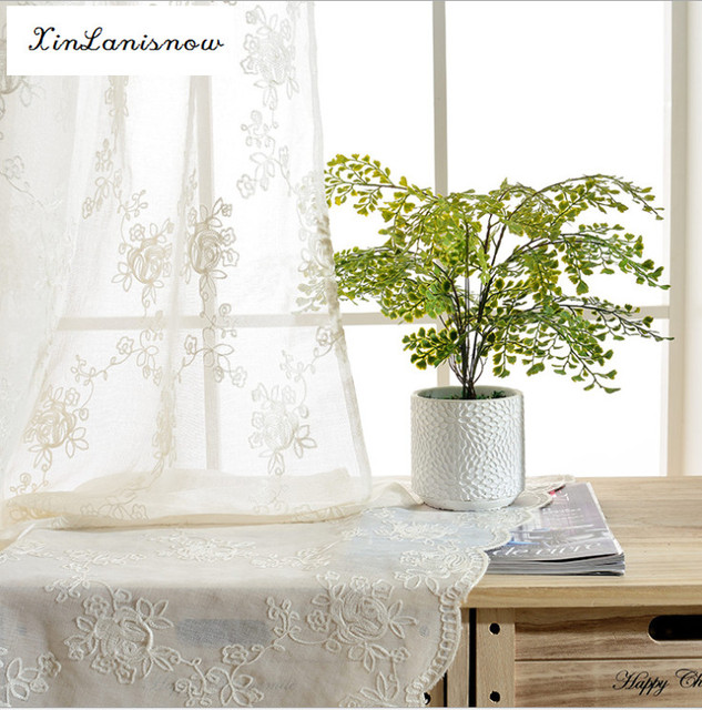 2016 New White Muslin Curtain Rose Garden Balcony Embroidered Curtains For Living Room Bedroom Window