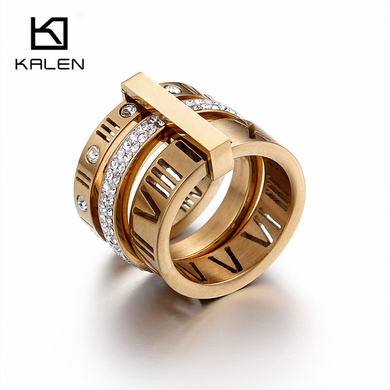 2018 verkauf Neue Kalen Dame Elegante Finger Knuckle Ring Farbe Drei Schichten Römischen Ziffern Strass Ringe Schmuck Weihnachten Geschenk