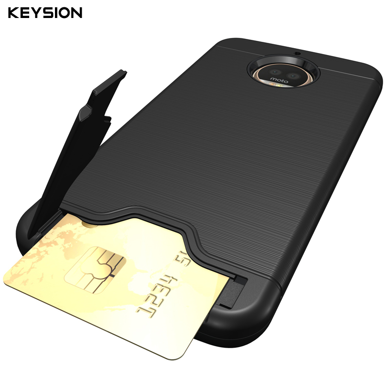 KEYSION Case for Moto G5S G5S Plus Plastic Kickstand Back Fitted Covers Luxury Phone Bags Cases for Moto G5S With Card Pocket