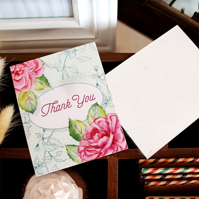 multi use 50pcs mini thank you card flower style scrapbooking party