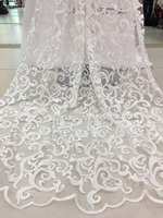 White Mesh Tulle Lace Fabric With Beads Embroidered Bridal Fabric African French Lace High Quality