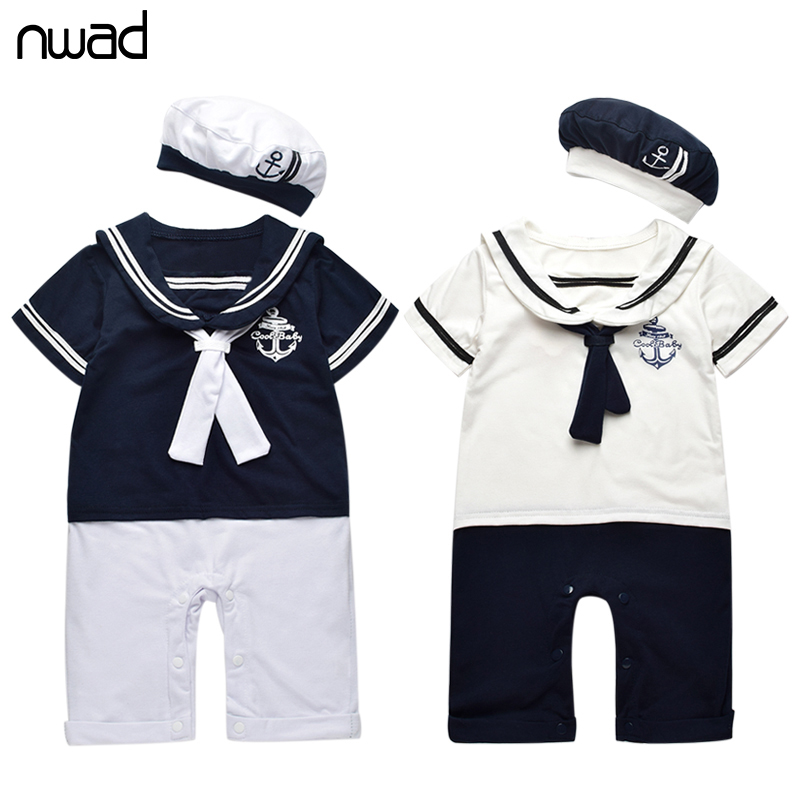 Summer Baby Cotton Rompers 2017 Fashion Sailor Collar Jumpsuit  For Newborn Baby Girl Boy Clothes Romper +Hat FF101 fashion baby clothes cartoon baby boy girl rompers cotton animal and fruit pattern infant jumpsuit hat set newborn baby costumes