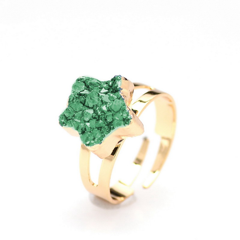 SEDmart Women Natural Stone Green Druzy Quartz Star <font><b>Rings</b></font> Gold Color <font><b>Raw</b></font> <font><b>Crystal</b></font> <font><b>Ring</b></font> Women Jewelry image
