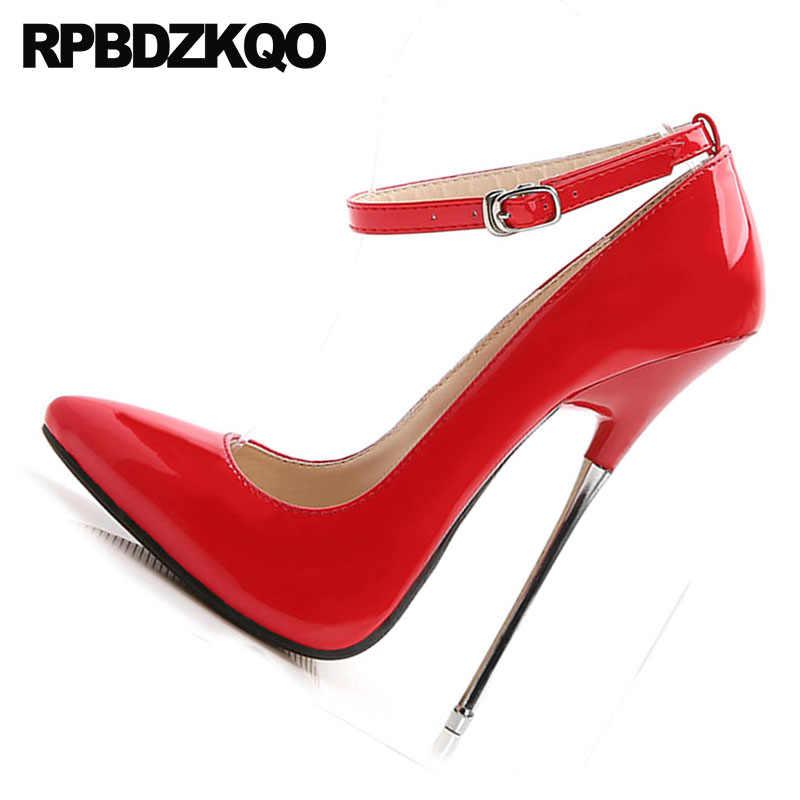 c94687d0d5 Big Size Peach Ladies Shoes High Heels 16cm Stilettos Ankle Strap Gold  Fetish Red 10 42 Sexy 12 44 Pumps Metal Exotic Dancer