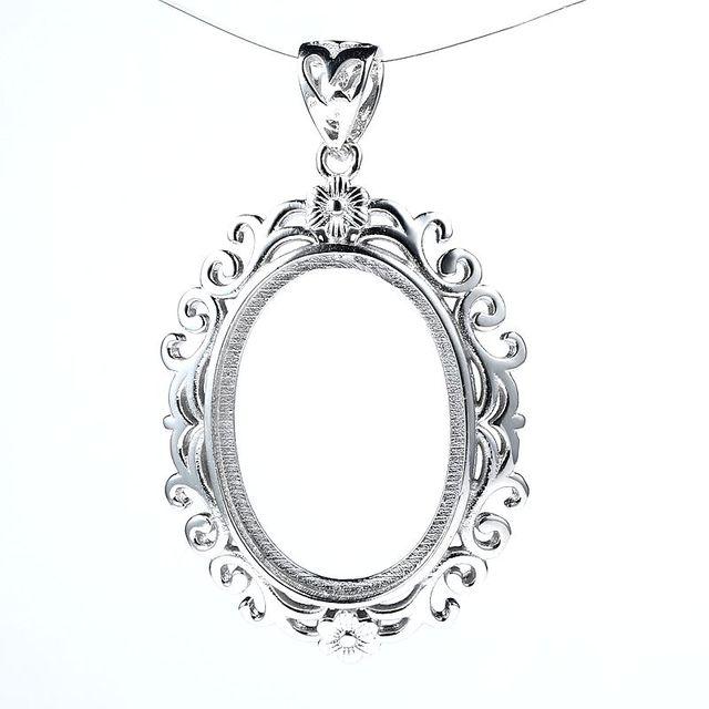 Filigree flower semi mount 925 sterling silver pendant for 18x26mm filigree flower semi mount 925 sterling silver pendant for 18x26mm oval cabochon gemstone fine jewelry setting aloadofball Gallery