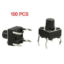 FSLH 100 Pcs 6x6x7mm Momentary Tactile Tact Push Button Switch 4 Pin DIP Through Hole