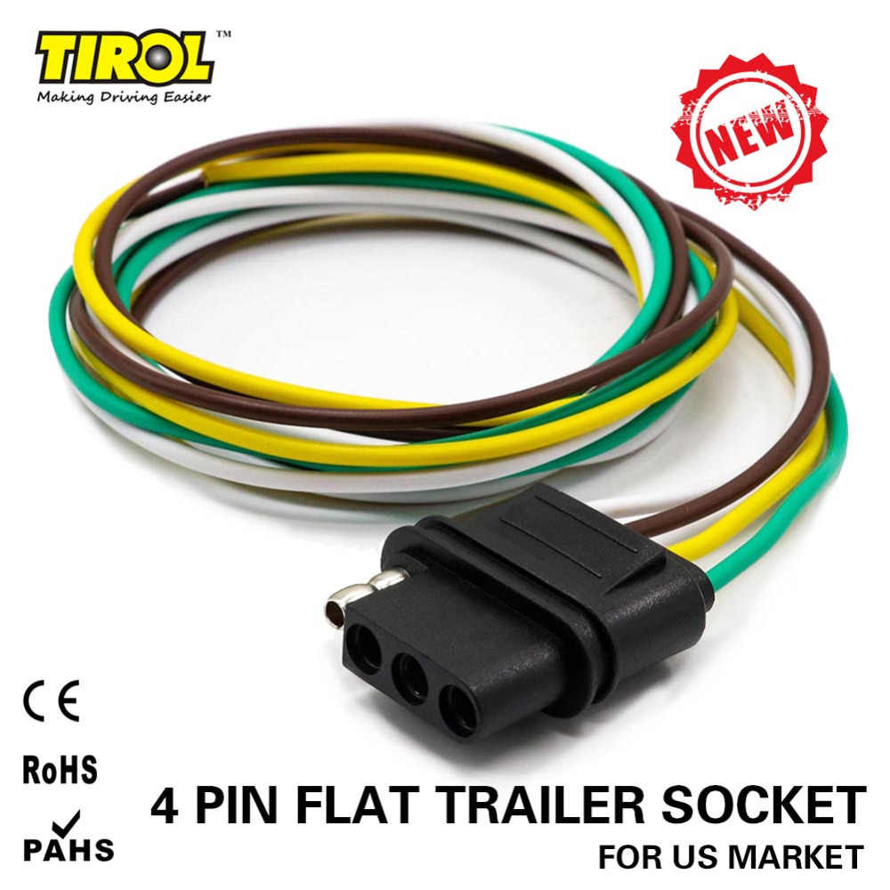 TIROL 4-Way Flat Trailer Wire Harness Extension Connector Socket with on
