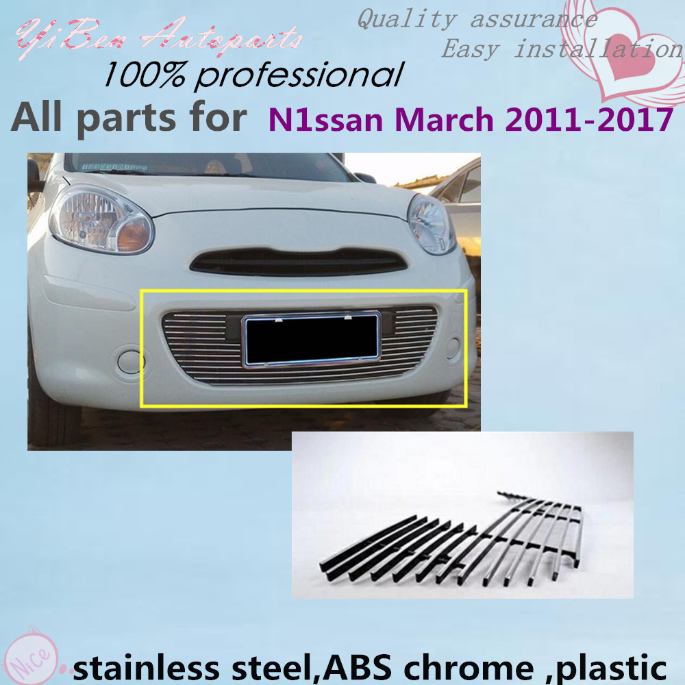 Car panel body cover protection trim Front up Grid Grill Grill racing 1pcs For Nissan March 2011 2012 2013 2014 2015 2016 2017 racing grills version aluminum alloy car styling refit grille air intake grid radiator grill for kla k5 2012 14