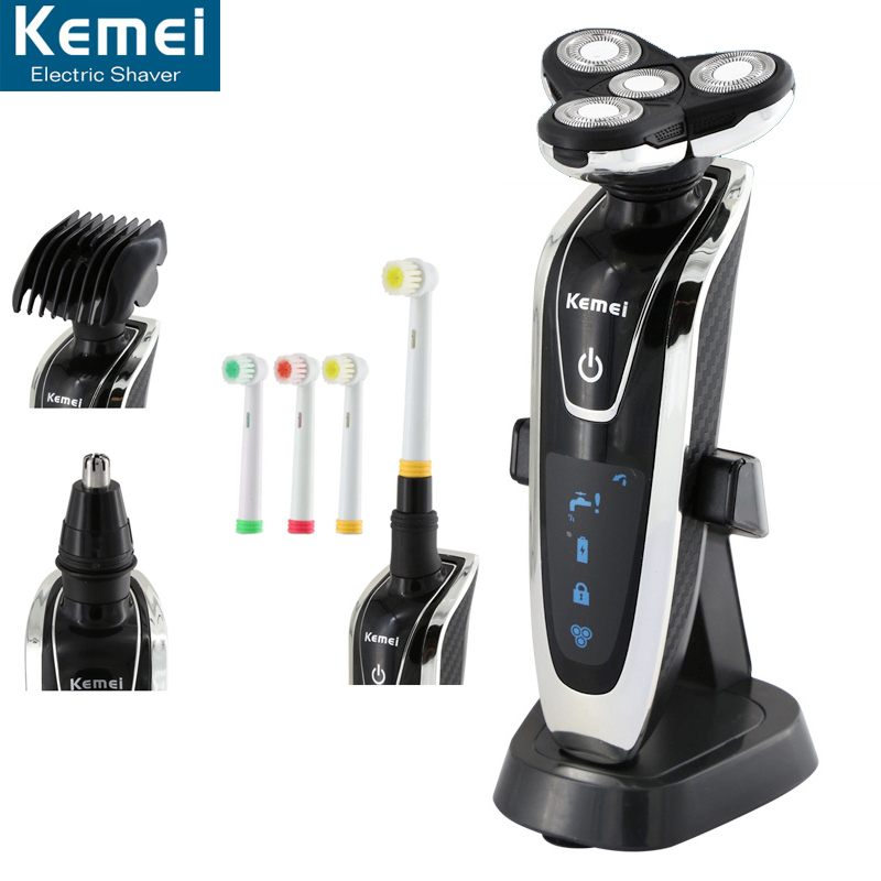 KEMEI 5181 Electric Shaver Washable 4 Heads Rechargeable Razor For Men 4 Blade Shaving Razors Men Face Care 4D Floating Trimmer w541 washable 3d rechargeable beard shaving electric shaver for men heads razor trimmer