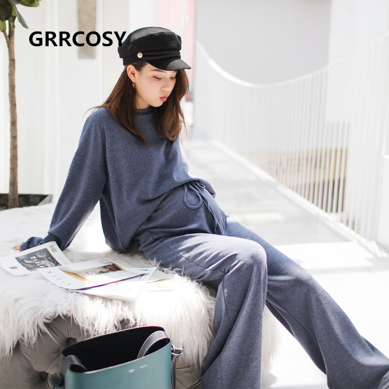 GRRCOSY Maternity Autumn New Korean Sweatshirt Loose Sportswear With Wide Leg Pants Fashion Pregnant Woman Set Cloth active wide leg stretch waistband pants with stitching design in blue