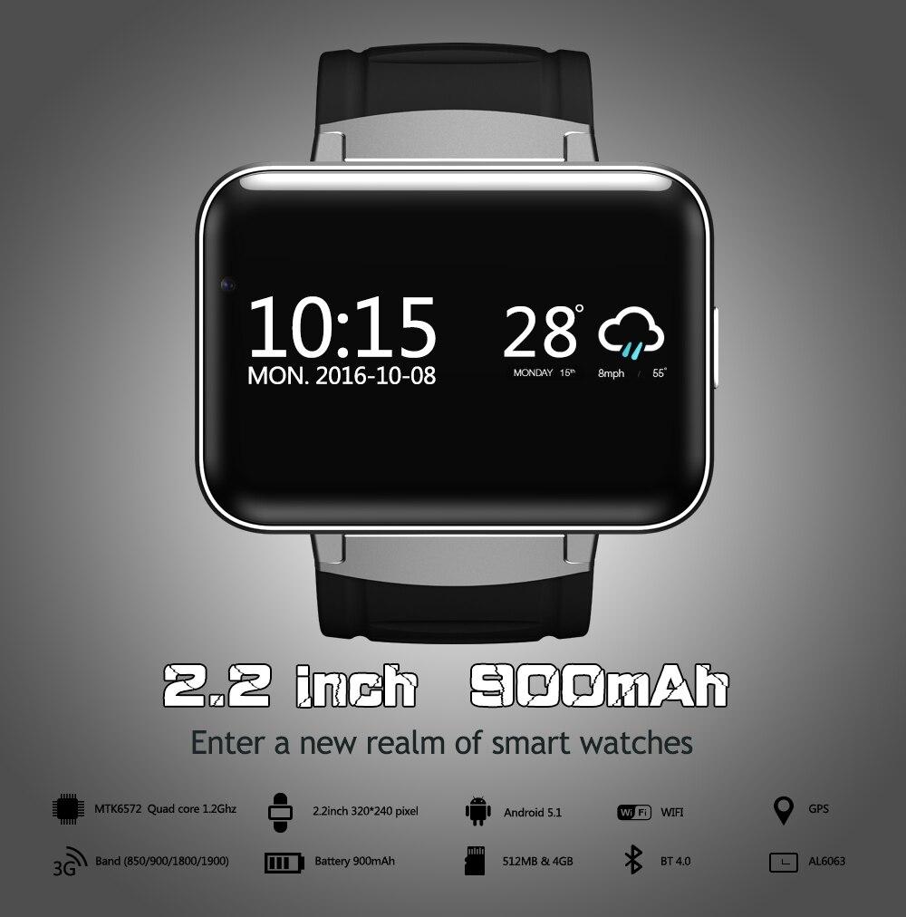 Smartch DM98 Bluetooth montre intelligente Android 4.4 3G Smartwatch téléphone MTK6572 double coeur 1.2 GHz 4 GB ROM caméra WCDMA WiFi GPS - 3