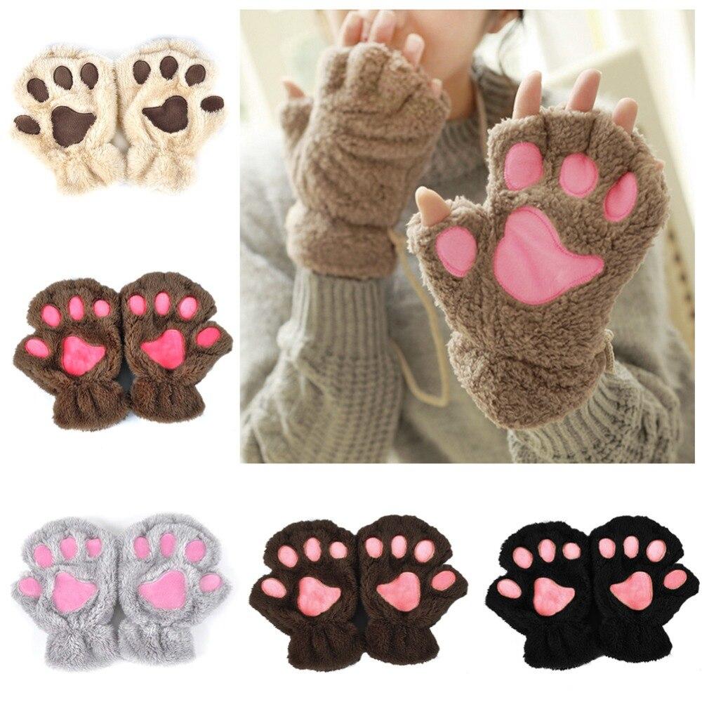 2019 Winter Lovely Women Bear Cat Claw Paw Mitten Plush Gloves Short Finger Half Gloves Ladies Half Cover Female Gloves(China)