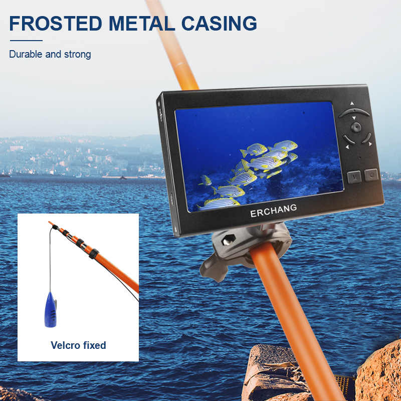 1000TVL 4.3 Inch 15M Cable Fish Finder 8pcs White LED Underwater Adjustable Light Vision Fishing Camera LCD Monitor Fishfinder