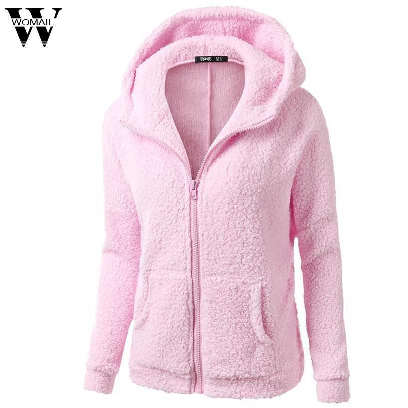Womail модное женское пальто с капюшоном зимнее теплое шерстяное пальто на молнии хлопковое пальто Верхняя одежда jan12/30 oct30