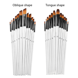 12Pcs/set Nylon Hair Wooden Handle Watercolor Paint Brush Pen Set for Learning Oil Acrylic Painting Art Paint Brushes Supplies