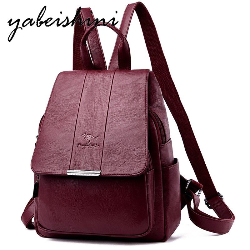 2019 Women Backpacks Womens Leather Female school backpack women Shoulder bags for teenage girls Vintage 3-in-1