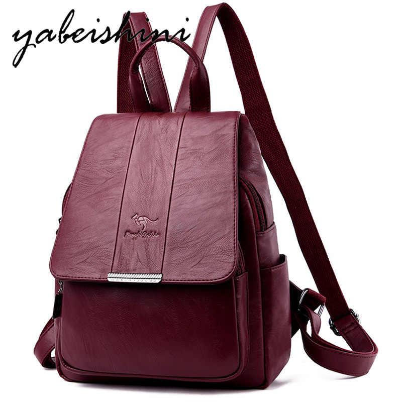 2019 Для женщин рюкзаки Для женщин кожаные рюкзаки школьные рюкзак Для женщин через плечо сумки для девочек подростков Винтаж «3 в 1»