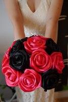 black wedding bouquets silk ribbon hand made rose flowers bridemaid bouquets wedding accessories