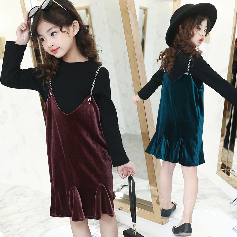 Baby Girl Clothes Set Autumn Children Clothing 2018 Long Sleeve Teenage Girls Fashion Sweatshirt + Overall Skirt 2pcs Suit 10 12