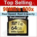 Настоящее Capacity16gb 32 ГБ 64 ГБ SD Card 600x90 МБ/с Флэш-Памяти карты Class 10 SDXC SDHC UHS-I Карты Памяти Цифровой Камеры Бесплатно доставка