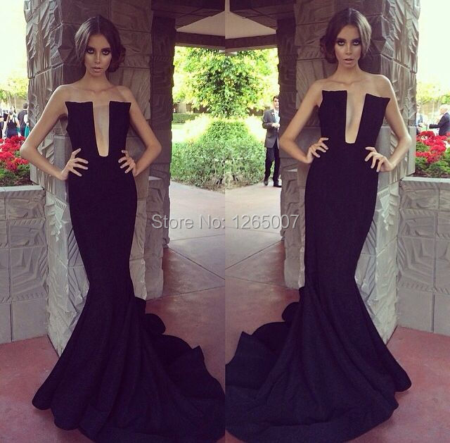 01935ba015 Deep V Neck Low Cut Ruffles Black Mermaid Formal Long Dress Special  Occasion Gown Slim Maxi Dress Long