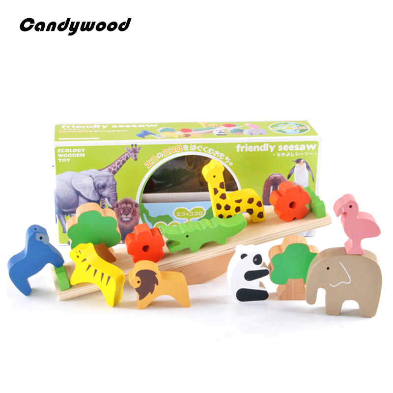 Wooden Toys Forest Animal Seesaw Wood Balance Blocks Educational Toys Children learning Game Toy For Boys 100pcs wooden forest animal toys building blocks for boys and girls early learning development assembly blocks toy birthday gift
