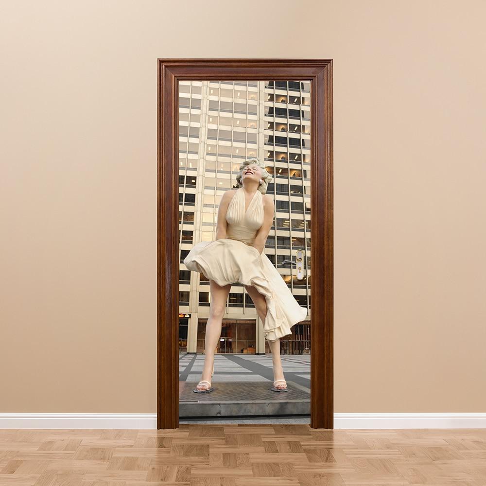 Deco Chambre Maryline Monroe €20.48 25% de réduction|creative bricolage 3d porte autocollants sexy  marilyn monroe motif pour enfants chambre porte décoration de la maison