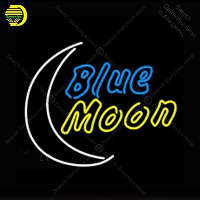 Neon Sign for Blue Moon neon Light Sign illuminated Business Display Beer Club Sign glass Tubes Handcrafted Neon signs Fill Gas