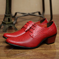 Red Snake Skin Pattern Leather Wedding Shoes Men British Fashion Flats Dress Shoes 2017 Hot Sale Size 10