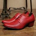 Rojo Patrón de Piel de Serpiente de Cuero Zapatos de Los Hombres Británicos de La Manera Visten Los Zapatos de Boda 2017 de La Venta Caliente Tamaño 10
