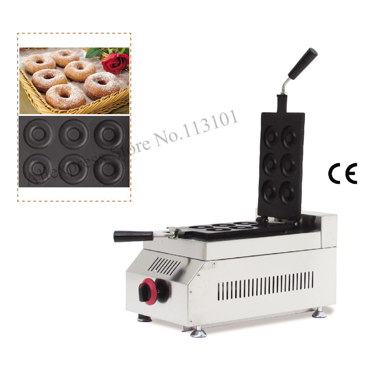 Gas donut grill maker stainless steel donut making machine commercial donuts machinery with 6pcs moulds rotated design automatic commercial plum donut baking machine cake sweet donuts maker