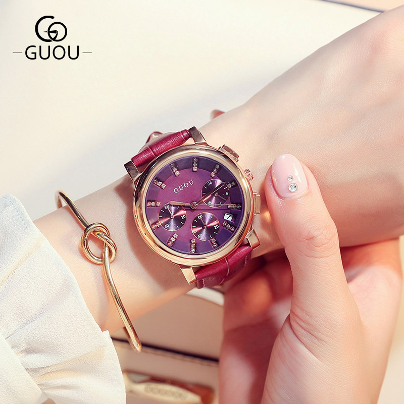 Women Fashion Casual Leather Watch GUOU Luxury Brand Ladies Calendar Dress Watches Multi-function Quartz clock Relogio Feminino guou brand new luxury fashion quartz ladies watch clock rose gold dress casual girl relogio feminino women watches gu 8148